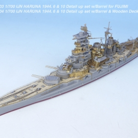 1/700 IJN HARUNA 1944. 6 & 10 Detail up set w/Barrel & Wooden Deck for FUJIMI