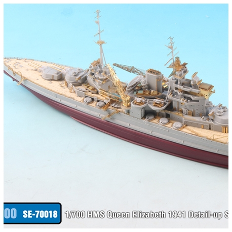 1/700 HMS Queen Elizabeth 1941 Detail-up Set w/ Wooden Deck & Gun Barrel