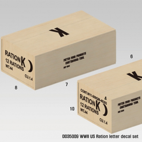 WWII US Wooden Ration Box letter decal set (1/35)