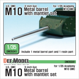 US M10 3-inch Gun Metal barrel with mantlet set (for Academy 1/35)
