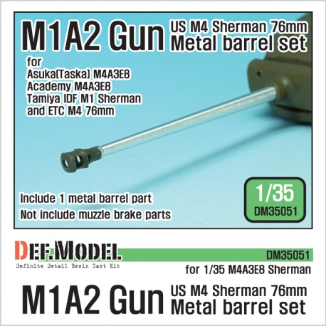 US M4 Sherman 76mm M1A2 Metal barrel set (for 1/35 M4A3E8 IDF M1 kit)