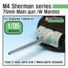 US M4 Sherman 75mm Metal barrel /w late Mantlet set( for Academy/Tamiya kit)