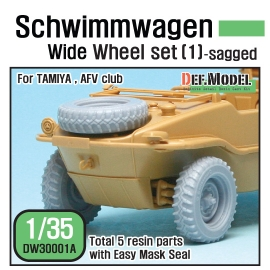 Schwimmwagen Wide Tire(continental)-Sagged (for Tamiya 1/35)