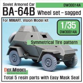 WW2 Russian BA-64B Armored car Wheel set (for Miniart 1/35)