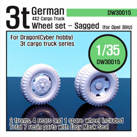 WW2 German 3t Cargo truck Wheel set (for Dragon 1/35)