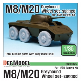 WW2 U.S. M8/M20 Greyhound Sagged Wheel set (for Tamiya 1/35)