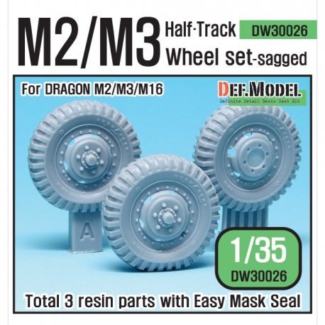 US M2/M3 Half-Track Sagged Front Wheel set (for Dragon 1/35)  DEF Model DW30026  Total : 3 Resin Parts & Wheel mask