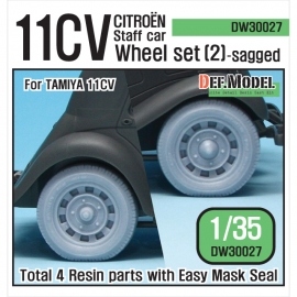 WW2 11CV Staff car Sagged wheel set (2) (for Tamiya 1/35)
