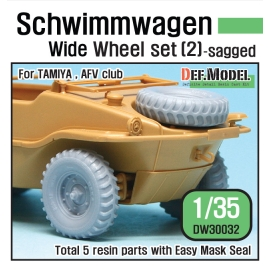 WW2 German Schwimmwagen Wide Wheel set 2 - DEKA (for Tamiya 1/35)