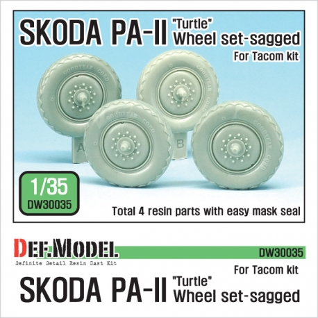 Czech SKODA PA-II Sagged Wheel set ( for Takom 1/35)