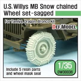 US Willys MB wheel /w Snow chain set ( for Tamiya/Dragon/Bronco 1/35)