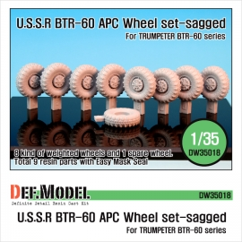 BTR-60 APC Sagged Wheel set (for Trumpeter 1/35)
