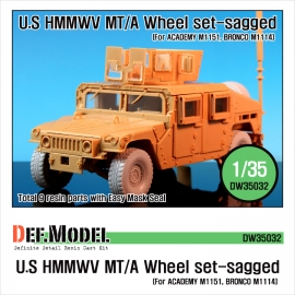 HMMWV BFGR Sagged wheel set(for Academy 1/35 M1151, Bronco M1114 kit)