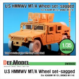 HMMWV BFGR Sagged wheel set(for Academy 1/35 M1151, Bronco M1114 kit)
