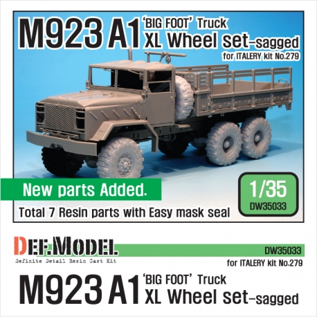 M923A1 BIG FOOT Truck Mich. XL Sagged Wheel set (for Italeri 1/35)