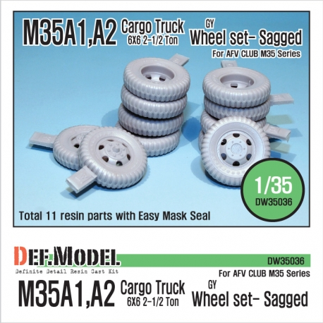 U.S M35 Cargo truck GY sagged wheel set (for AFV Club M35A1/2)