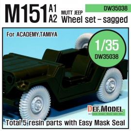 U.S M151 Jeep sagged wheel set (for Tamiya/Academy 1/35)