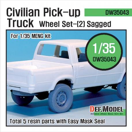 Civilian Pick up Truck Sagged wheel set 2 (for Meng 1/35)