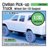 Civilian Pick up Truck Sagged wheel set 3 (for Meng 1/35)