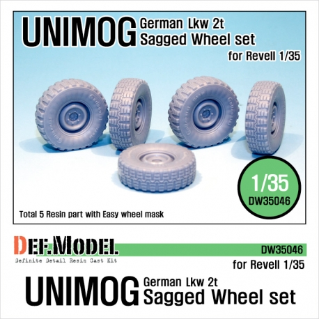 German UNIMOG Lkw 2t Sagged Wheel set (for Revell 1/35)