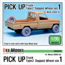 Pick up truck Type 2 Sagged Wheel set 1 (for Meng VS004 1/35)