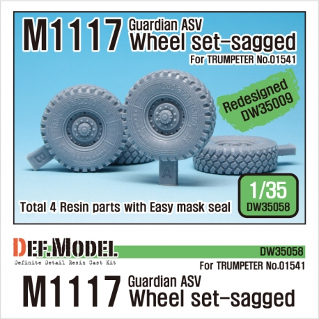 US M1117 Guardian ASV Sagged Wheel set (for Trumpeter 1/35)