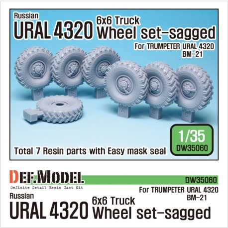 Russian URAL-4320 Truck / BM21 Sagged Wheel set (for Trumpeter 1/35)