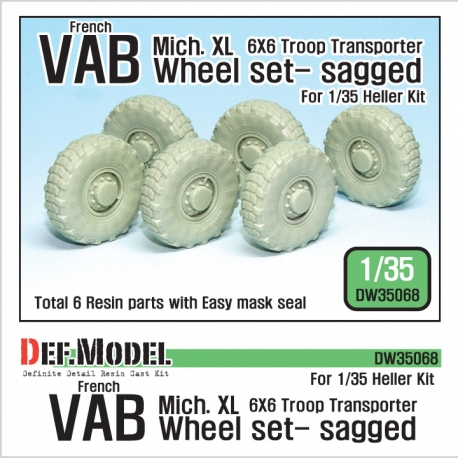French VAB Sagged Wheel set 1-Mich. XL (for Heller 1/35 6 wheel included)
