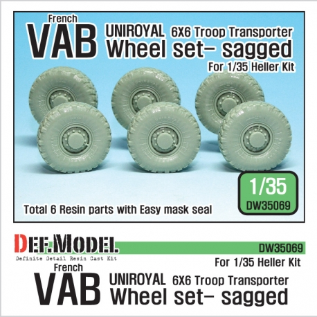 French VAB Sagged Wheel set 2-Uniroyal (for Heller 1/35 6 wheel included)