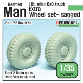 German Man milgl Truck Extra 2ea Sagged Wheel set (for Revell Man 10t 1/35)