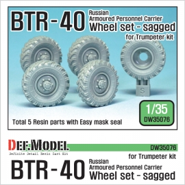 Russian BTR-40 Sagged Wheel set (for Trumpeter 1/35)