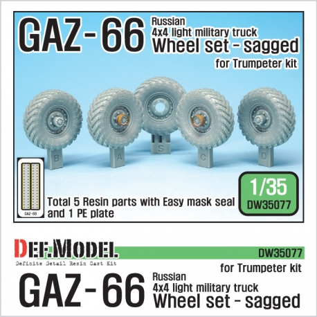 Russian Gaz-66 Sagged Wheel set (for Trumpeter 1/35)