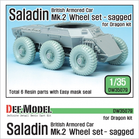 British Saladin MK.II Sagged Wheel set (for Dragon 1/35)