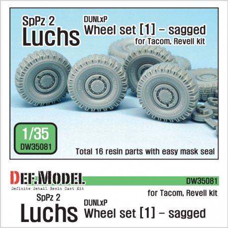 German Luchs 8X8 Dunlxp Sagged Wheel set-1 (for Tacom/Revell 1/35)