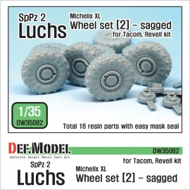 German Luchs 8X8 Mich.XL Sagged Wheel set-2 (for Tacom/Revell 1/35)