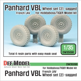 French Panhard VBL LAV Sagged Wheel set - 2( for Tiger model, Hobbyboss 1/35)