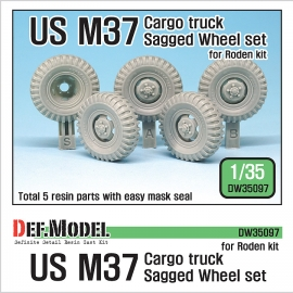 U.S. M37 Cargo truck Sagged Wheel set ( for Roden 1/35)