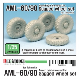 French AML-60/90 Sagged Wheel set (for Takom 1/35)