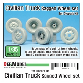 Japanese Civilian Truck Sagged Wheel set ( for Diopark 1/35)
