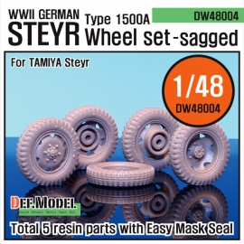 WW2 German STyre Type 1500A Sagged Wheel set (for Tamiya 1/48)