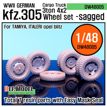WW2 German Cargo truck Kfz.305 Sagged Wheel set (for Tamiya/italeri 1/48)