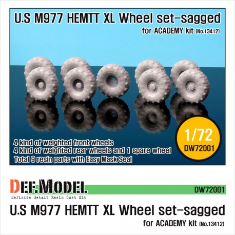 "M977 HEMTT ""XL"" Sagged Wheel set (for Academy 1/72)"