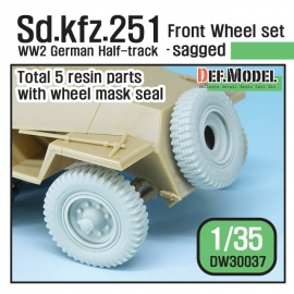 WW2 German Sd. kfz.251 Half-Track Sagged Front Wheel set