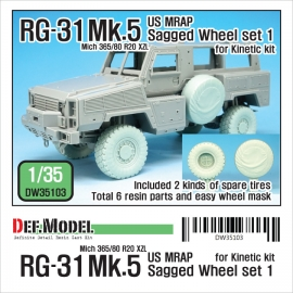RG-31 Mk.5 Sagged Wheel set (for Kinetic 1/35)