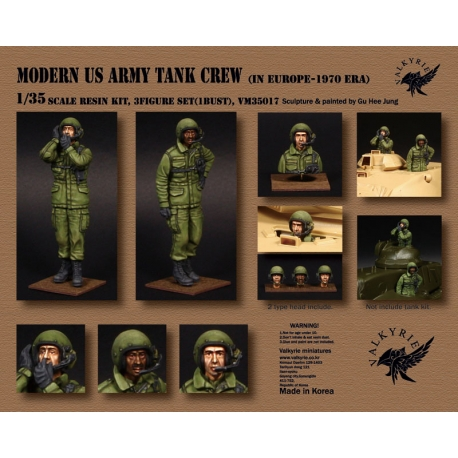 1/35 Modern US Army Tank Crew in Europe - 1970 Era (2 Figures and 1 Bust)