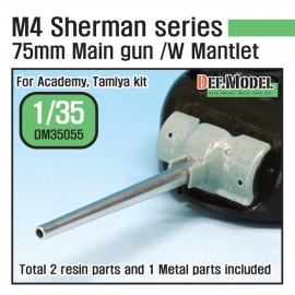 US M4 Sherman 75mm M3 Metal barrel set w/Late Mantlet (for Tamiya/Academy 1/35)