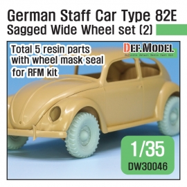 WWII German staff car Type 82E Sagged Wide Wheel set (2) 1/35