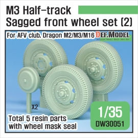US M2/M3 Half-Track Sagged Front Wheel set 2 1/35