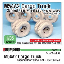 US M54A2 Cargo Truck Sagged Rear Wheel set- Heavy Loaded 1/35