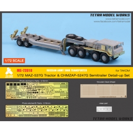 [ME-72018] 1/72 Russian Army MAZ-537G Tractor w/CHMZAP-5247G Semitrailer Detail-up Set (for Takom)